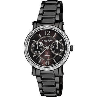 Akribos XXIV Women's Diamond Swiss Steel Ion-Plated Day/ Date Black Watch