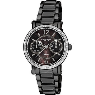 Akribos XXIV Women's Diamond Swiss Steel Ion-Plated Day/ Date Black Watch with FREE GIFT