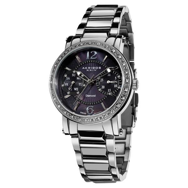 Akribos XXIV Women's Diamond Swiss Steel Day/ Date Silver-Tone Watch