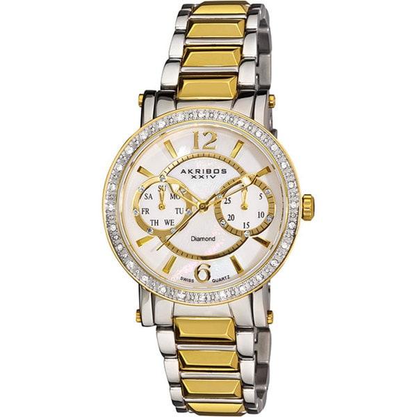 Akribos XXIV Women's Diamond Swiss Steel Diamond-Encrusted Day/ Date Gold-Tone Watch