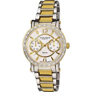 Akribos XXIV Women's Diamond Swiss Steel Diamond-Encrusted Day/ Date Gold-Tone Watch