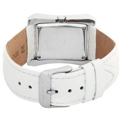 August Steiner Savannah Women's Leather-White Strap Swiss-quartz Watch - Thumbnail 1