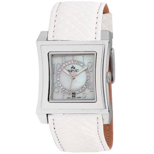August Steiner Savannah Women's Leather-White Strap Swiss-quartz Watch - Thumbnail 0