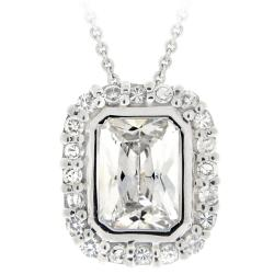 Icz Stonez Sterling Silver Emerald-cut Cubic Zirconia Necklace
