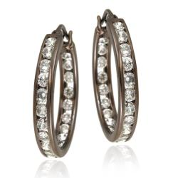 Icz Stonez Brown Rhodium over  Sterling Silver Cubic Zirconia Hoop Earrings
