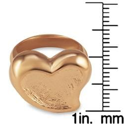Rose Goldplated Stainless Steel Heart Ring - Thumbnail 2