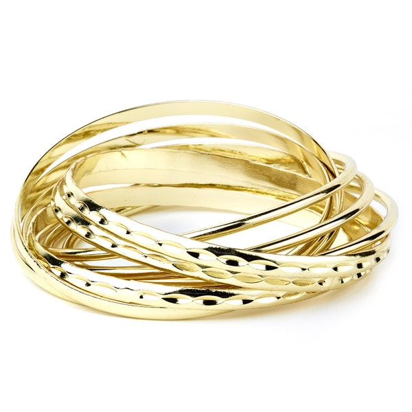 Metal Gold-tone High-polish-finish Stackable Textured Bangle Set