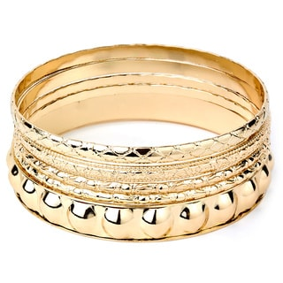 Goldtone Stackable Various Faceted Texture Bangle 3-piece Set