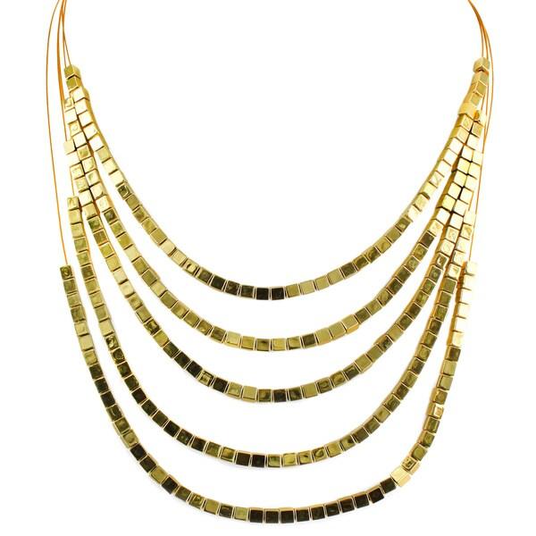 West Coast Jewelry Goldtone Square Bead 5-strand Necklace