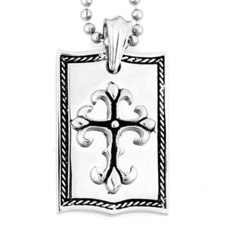 Crucible Stainless Steel High Polish Cross Dog Tag Necklace