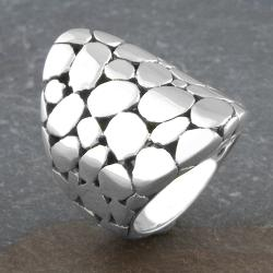 Sterling Silver Long Bubbled 'Cawi' Ring (Indonesia) - Thumbnail 1