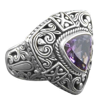 Handmade Sterling Silver Amethyst 'Cawi' Ring (Indonesia) (5 options available)