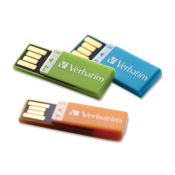 Verbatim 4GB Clip-It USB Flash Drive - 3pk - Orange, Blue, Green