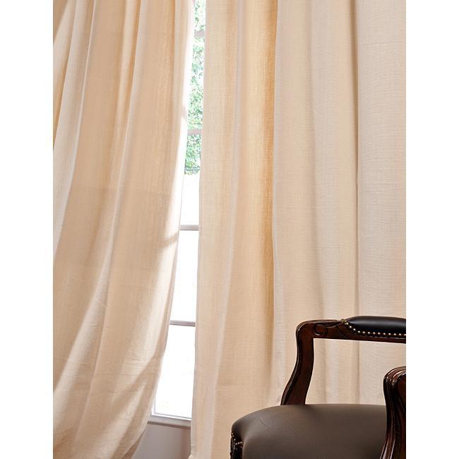 Exclusive Fabrics Casual Cream Cotton Linen 96-inch Curtain Panel