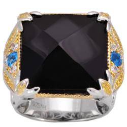 Michael Valitutti Black Onyx, Apatite and Sapphire Ring