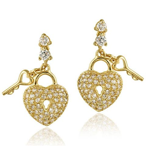 Icz Stonez 18k Gold over Sterling Silver Cubic Zirconia Heart Dangle Earrings