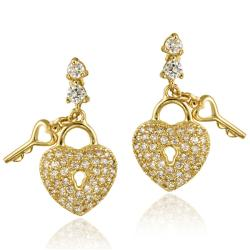 Icz Stonez 18k Gold over Sterling Silver Cubic Zirconia Heart Dangle Earrings