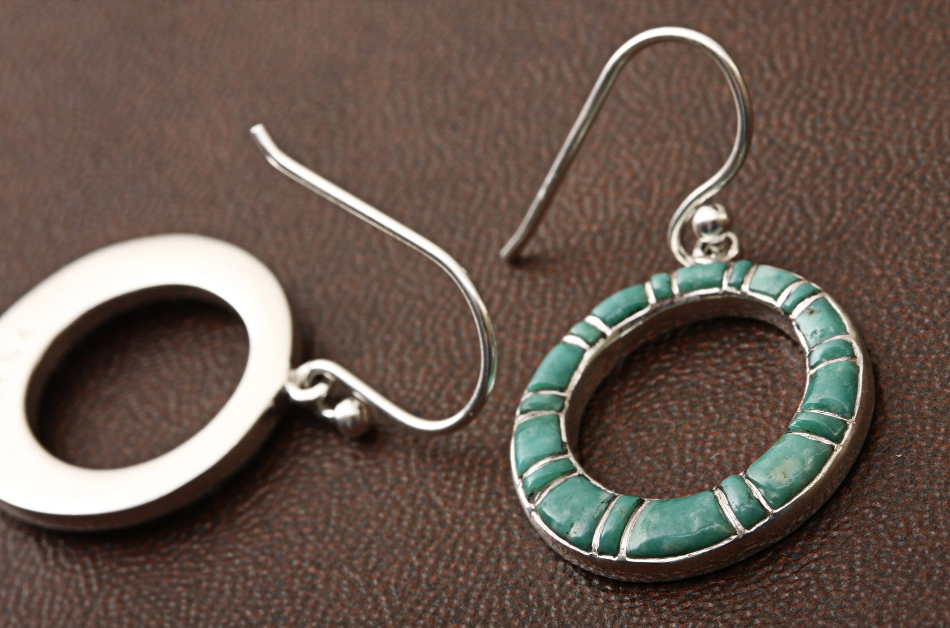 Sterling Silver Inlaid Turquoise Earrings (Thailand) - Thumbnail 1