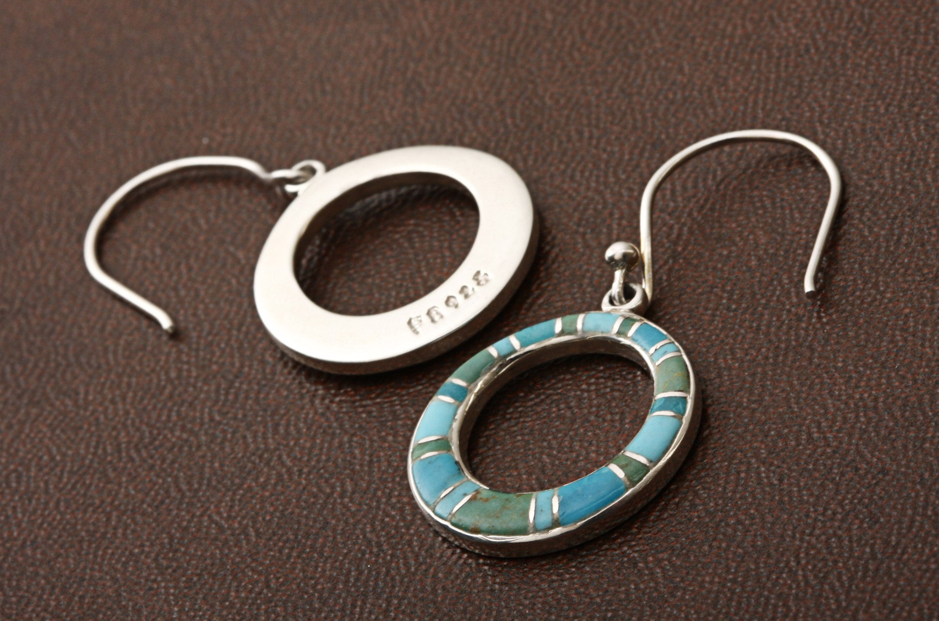 Sterling Silver Turquoise Multi-inlay Earrings (Thailand) - Thumbnail 1
