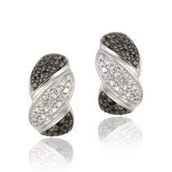 DB Designs Sterling Silver 1/2ct TDW Black Diamond S Design Earrings