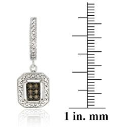 DB Designs Sterling Silver 1/8ct TDW Brown Diamond Dangle Earrings - Thumbnail 2