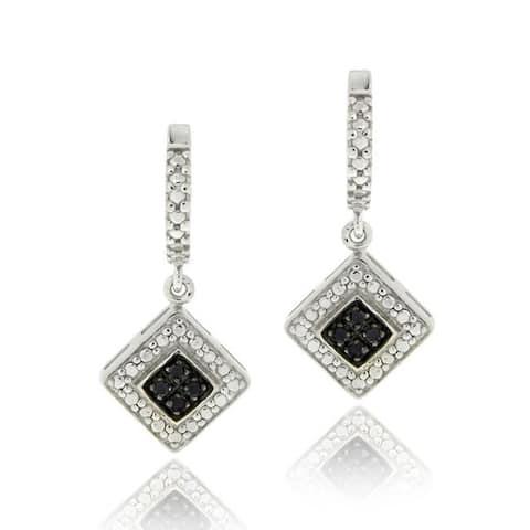 DB Designs Sterling Silver 1/10ct TDW Black Diamond Dangle Earrings