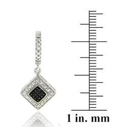DB Designs Sterling Silver 1/10ct TDW Black Diamond Dangle Earrings - Thumbnail 2
