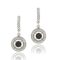 DB Designs Sterling Silver 1/10ct TDW Black Diamond Dangle Earrings