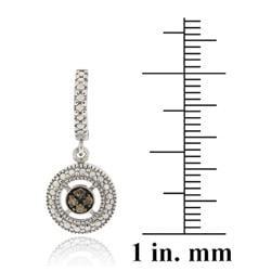 DB Designs Sterling Silver 1/10ct TDW Brown Diamond Dangle Earrings