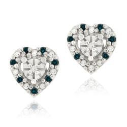 DB Designs Sterling Silver 1/8ct TDW Blue Diamond Heart Earrings