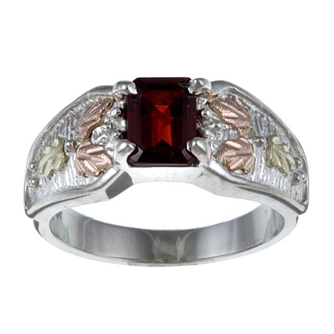 Black Hills Gold and Sterling Silver Garnet Ring