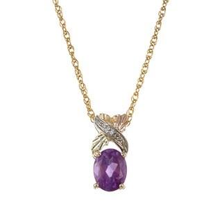 Black Hills Gold Amethyst and Diamond Pendant