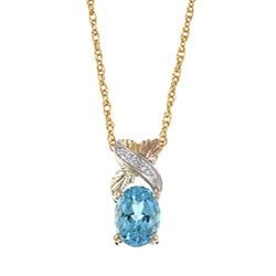 Black Hills Gold Blue Topaz and Diamond Accent Pendant