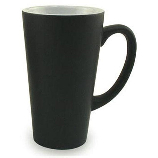 Funnel Style Matte Black 16 Oz Ceramic Mugs Set Of 4