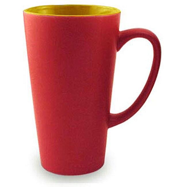 Funnel Style Two-tone Red/ Yellow 16-oz Ceramic Mug