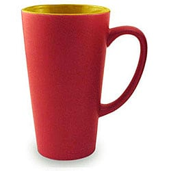 Funnel Style Two-tone Red/ Yellow 16-oz Ceramic Mug