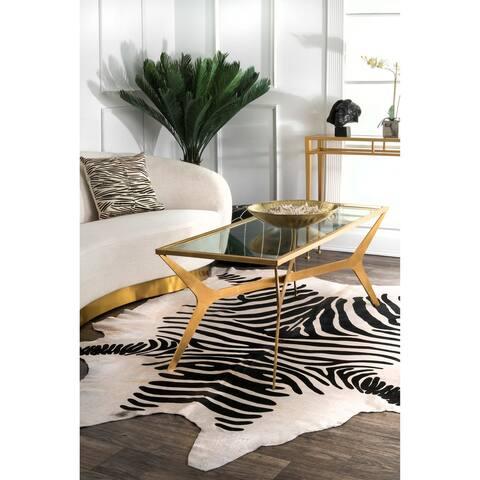 nuLOOM Hand-picked Brazilian Zebra Cowhide Area Rug