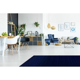 Hand-tufted Blue Stripe 'Pulse' Wool Rug (8' Round)