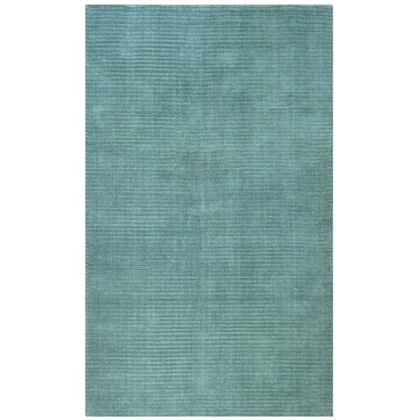 Hand-tufted Pulse Aqua Wool Rug (5' x 8') - 5' x 8'