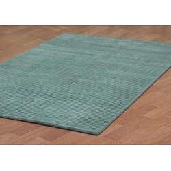 Hand-tufted Pulse Aqua Wool Rug (5' x 8') - Thumbnail 1