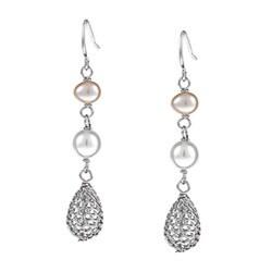 Kabella Sterling Silver Freshwater Pearl Wire Dangle Earrings (6-7 mm)