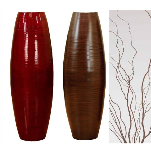Bamboo 36-inch Cylinder Vase with Natural Branches