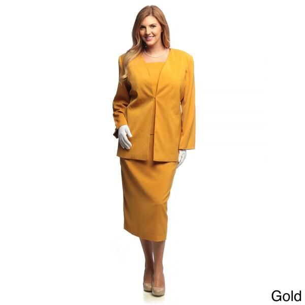 Divine Apparel Women's Plus Size 3-piece Skirt Suit