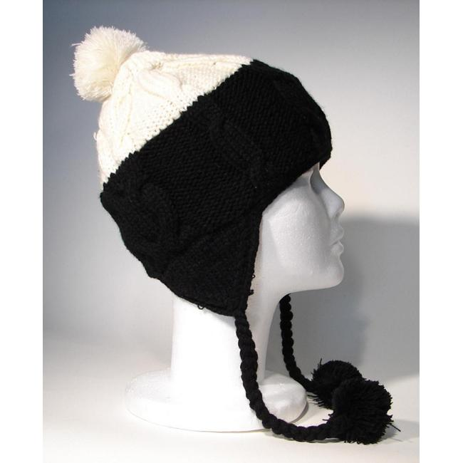 Cotton and Wool Black and White Ski Hat (Nepal)