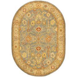 Safavieh Handmade Oushak Slate Blue/ Ivory Wool Rug (7'6 x 9'6 Oval)