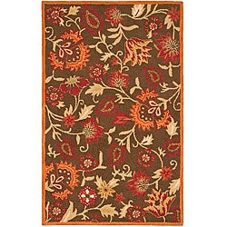 Safavieh Handmade Blossom Gardens Brown Wool Rug (5' x 8')