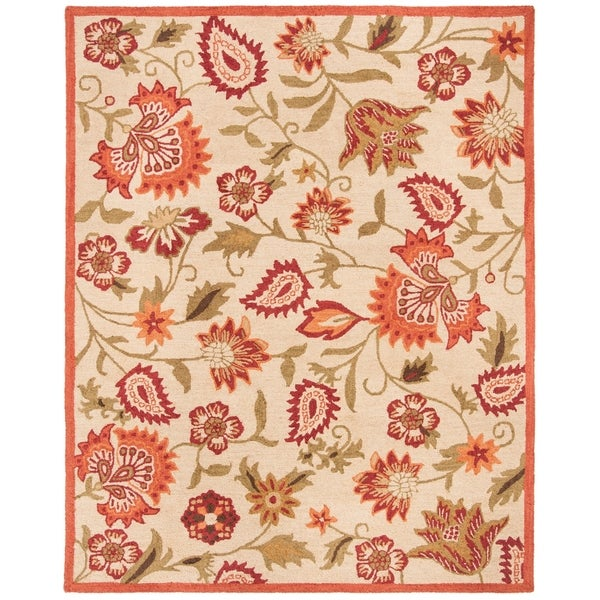 Safavieh Handmade Blossom Paisley Beige Wool Rug - 8' x 10'