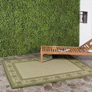 Safavieh Royal Natural/ Olive Green Indoor/ Outdoor Rug (7'10 Square)