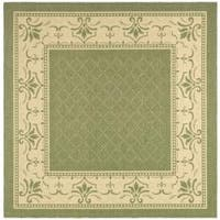 Safavieh Royal Olive Green/ Natural Indoor/ Outdoor Rug (6' 7 Square)