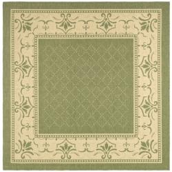 Safavieh Indoor/ Outdoor Royal Olive/ Natural Rug (7'10 Square)